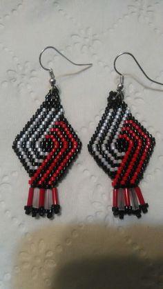 Portland Trail Blazer earrings! $13.00 (delica  bugle beads) BW.