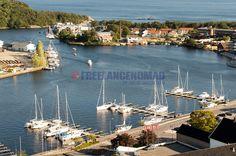 Aerial shot of Mandal Harbor, Norway
