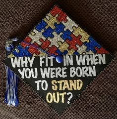 Graduation cap idea embracing and celebrating autism. // follow us @motivation2study for daily inspiration