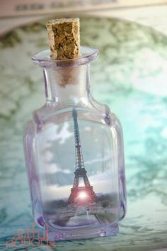 fine art home decor 8x12 photograph magic bottle paris france eiffel tower under-glass