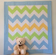 Unique Handmade Baby Quilts - The Perfect Baby Gift by NurseryRhymeQuilts Chevron Baby Quilts, Baby Patchwork Quilt, Baby Quilt Patterns, Pink Quilts, Baby Girl Quilts, Girls Quilts, Quilt Baby, Quilting Patterns, Quilting Ideas