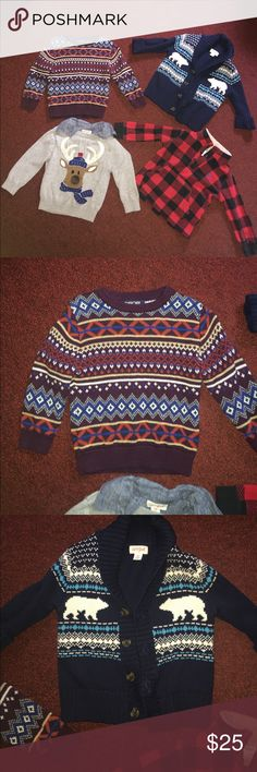 Adorable winter lot of sweaters!- last reduction! 2 are cat and jack brand, one is carters and the other is Cherokee from target. All in good condition! All 18 months Carter's Shirts & Tops Sweaters