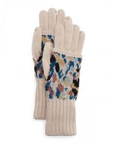 Missoni Speckled Knit Gloves Black Orange   Accessory