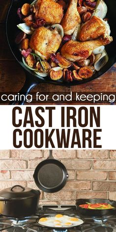 Cooking with cast iron is easy, makes your food taste amazing. Get these tips on caring for and keeping cast iron cookware. Iron Skillet Recipes, Skillet Meals, Cast Iron Care, Cast Iron Cooking, Cast Iron Cookware, Food Facts, Kitchen Hacks, Cooking Tips, Favorite Recipes