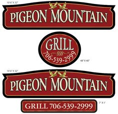 Restaurant sign for Pigeon Mountain grill.  Strata Sign Company. www.customoutdoorwoodensigns.com