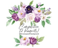 Watercolor flowers clipart, frame wreath with violet roses, floral clipart, PNG transparent background, Free Commercial Use Purple Peonies, Peonies Bouquet, Floral Bouquets, Purple Flowers, Plum Purple, White Flowers, Lilac Roses, Turquoise Flowers, Light Purple