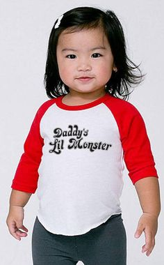 Daddy's Lil Monster White Red Raglan