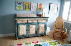 Old dresser used as a changing table... LOVE IT!!!