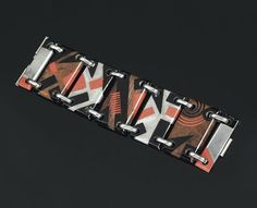 Bracelet, Jean Dunand, c. 1930, rosewood, thuja wood, nickel-plated metal, lacquer