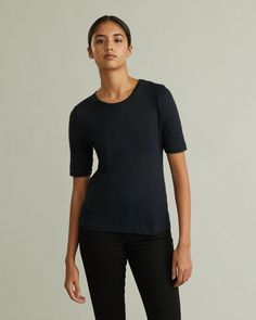 The perfect basic t-shirt in the softest cashmere blend jersey. Featuring invisible stitching and darts at back. The sleeves are slightly slimmed for a neat look. Personal Shopping, Darts, Designing Women, Stockholm, Stitching, Cashmere, How To Make, How To Wear, V Neck