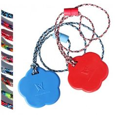 Flower-duo #SentioCHEWS -chewable necklace set for kids to chew,bite, fidget!  Blue and Red Flower pendants with your choice of breakaway lanyard style! SAVE! #ADHD #sensory #pediOT