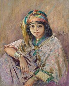 Algérie - Peintre français   Alphonse BIRCK(1859-1942) , Pastel sur papier, Titre: Jeune berbère aux nattes