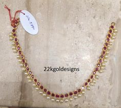 Simple Ruby Pearl Necklace in light weight Gold Necklace Simple, Gold Jewelry Simple, Necklace Set, Ruby Jewelry, Girls Jewelry, India Jewelry, Jewelry Accessories, Jewelry Trends, Gold Jewellery Design