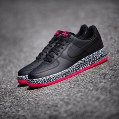 Nike Air Force 1 Black, Elephant Print, and Pink