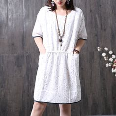 Stylish Floral Pleated Short Sleeves Women White Dress