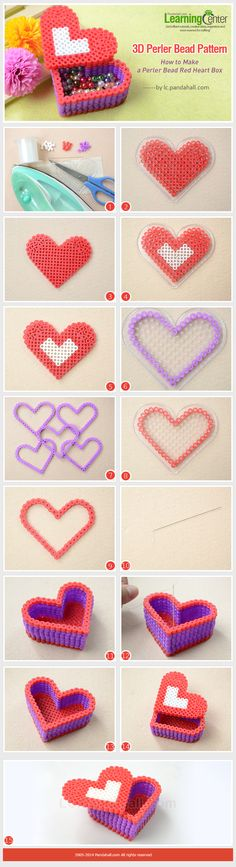 How to make a heart hama perler bead box Perler Bead Designs, Hama Beads Design, Diy Perler Beads, Perler Bead Art, Pearler Bead Patterns, Perler Patterns, Loom Patterns, Peler Beads, Iron Beads