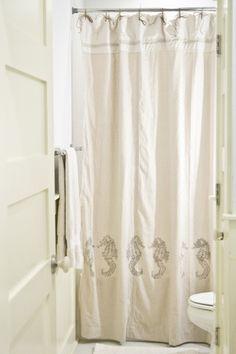 nicole paloma silver seahorse shower curtain