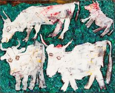 Jean Dubuffet, Vaches au pré (Cows in a meadow), 1954, Oil on canvas, 32 x 39 1/4 in. | Wexner Family Collection, Transfigurations