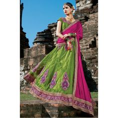 Green Embroidered Bright Square Net Lehenga Choli - 15957 ( ML-938 )