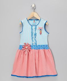 Take a look at this Pink & Blue Polka Dot Kitten Dress - Toddler & Girls by Mim Pi on #zulily today!