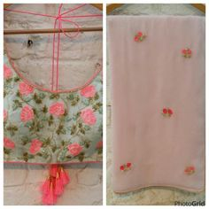 Diy saree. Candy pink roses on sea green blouse and pastel pink saree