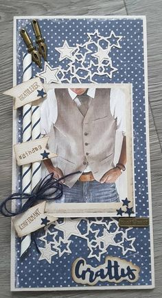 Scrapbook Pages, Scrapbooking, Fathers Day Cards, Marianne Design, Graduation Cards, Cards For Friends, Funny Cards, Masculine Cards, Homemade Cards