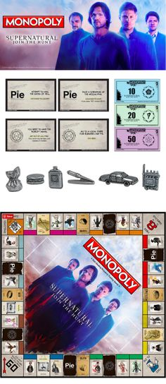 The Supernatural Edition of Monopoly allows fans to buy, sell and trade famous monsters from the Supernatural TV series. Supernatural Merchandise, Supernatural Cosplay, Supernatural Drawings, Supernatural Bloopers, Supernatural Imagines, Supernatural Wallpaper, Supernatural Quotes, Supernatural Fandom, Supernatural Crafts