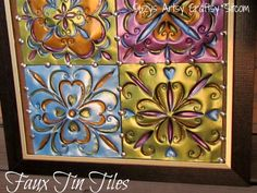 """Faux Tin Tiles - how-to Would be use flashing in the roofing supplies from Home Depot to make your own tin ceiling tile / backsplash"""" data-componentType=""""MODAL_PIN Aluminum Can Crafts, Tin Can Crafts, Metal Crafts, Recycled Crafts, Fun Crafts, Arts And Crafts, Tin Can Art, Tin Art, Tin Tiles"""