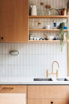 southern home decor Laura Street by Hearth Studio Characteristic of the project Brunswick VIC Australia Home Decor Kitchen, New Kitchen, Home Kitchens, White Tile Kitchen, 1950s Kitchen, Kitchen Wall Tiles, White Tiles, Kitchen Shelves, Home Interior