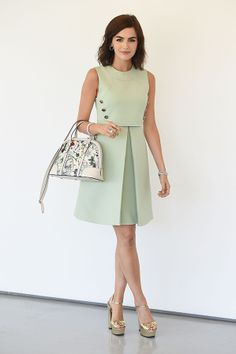 Best Dressed Of The Week: June 6 2014 Camilla Belle showed her penchant for Gucci once again with this perfectly tailored pistachio-green sleeveless dress. She topped off the feminine look with on-trend Gucci gold platform shoes and a floral Gucci bag.