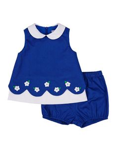 Fine-Wale Pique Shift Dress & Bloomers, Royal/White, Size 3-24 Months by Florence Eiseman at Neiman Marcus.