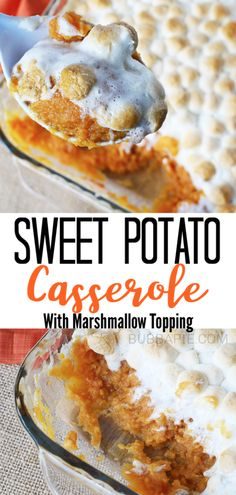 This easy Sweet Potato Casserole with Marshmallows recipe is the best holiday dish for your Thanksgiving table. These soft, savory sweet potatoes are sprinkled with cinnamon and covered with a delicio Canned Sweet Potato Recipes, Canned Sweet Potato Casserole, Sweet Potato Casserole Recipe With Marshmallows, Canning Sweet Potatoes, Loaded Sweet Potato, Easy Potato Recipes, Recipes With Marshmallows, Mashed Sweet Potatoes, Sweet Potato Marshmallow