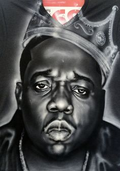 The king himself Biggie Smalls Portrait painted by Andaluz The Artist. #greyscale #crown #painting #portrait #biggie #smalls #famous #legend #king #art