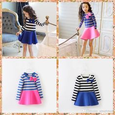 2015 Princess Babies Girls Stripes Patchwork Ruffles Party Dresses Long Sleeve Pink And Blue Christmas Dresses Sweet Kid Girl Casual Dress From Smartmart, $43.83 | Dhgate.Com