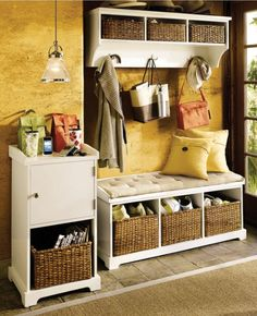 This is the kind of thing I'm looking at for the entrance-way storage - it would good to be able to hang coats, store shoes, etc. The bench I think is unnecessary but  a bit of a shelf/ledge (to chuck mail, etc on) would be good