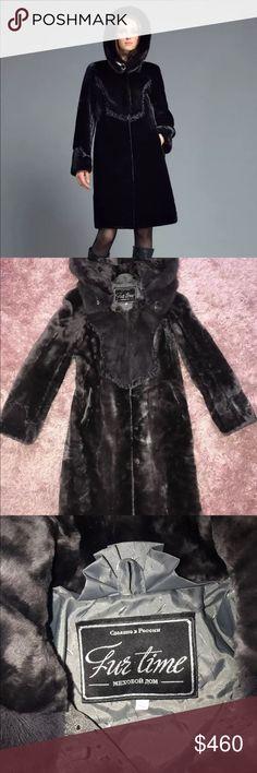 Women's gray silver MOUTON/ MINK FUR COAT Size 42 I never wear it fur time Jackets & Coats