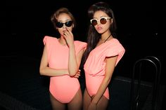 Fluoro orange bodysuit