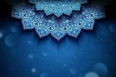 Illustration of Blue arabesque flower background with glitter bokeh effect vector art, clipart and stock vectors. Islamic Art Pattern, Pattern Art, Blur Background Photography, Bokeh Effect, Flower Backgrounds, Flower Frame, Arabesque, Banner Design, Vector Art