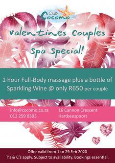 Valentines Spa Special @ Club Cocomo Hartbeespoort! Spa Specials, How To Apply, Valentines, Club, Valentine's Day Diy, Valentines Day, Valentine's Day