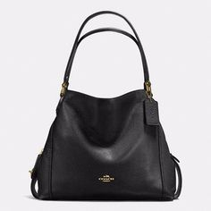 d44c0328b5eeb5 Coach Pebble Leather Edie 31 Shoulder Bag Womens Casual Handbag Light Gold/ Black #Coach