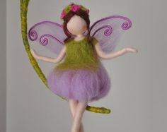 Wall Hanging Butterfly Fairy Waldorf inspired Room by MagicWool Wool Dolls, Felt Dolls, Primitive Doll Patterns, Felt Angel, Fairy Clothes, Felt Fairy, Butterfly Fairy, Needle Felted, Tiny Dolls