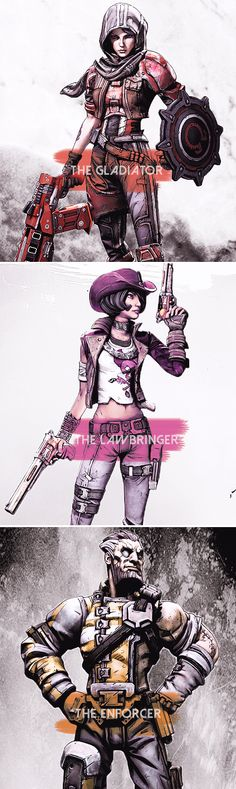 Borderlands Pre-Sequel Characters, but is missing for some reason Borderlands Series, Tales From The Borderlands, Video Game Art, Video Games, Best Games, Fantasy Art, Nerdy, Cool Art, Character Design