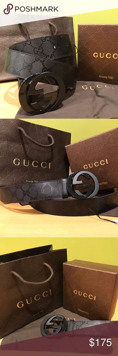 ☼Authentic Men Gucci Belt Black Shiny Imprime GG 💎Authentic Gucci Belt!  💎This black shiny imprime belt is a great gift or for personal use!  💎This item is 100% authentic like all my items!!!  💎I ship within one business day!!! 💎Sizing is easy ask for any questions Gucci Accessories Belts