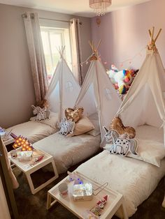 Beautiful sleepover transforming a little girls bedroom into a party venue. Party Venues, Sleepover, Girls Bedroom, Little Girls, Toddler Bed, Unicorn, Furniture, Beautiful, Home Decor