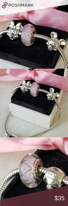 Set of three Pandora charms New pandora charms box not included Bracelet not for sale Pandora Jewelry Bracelets