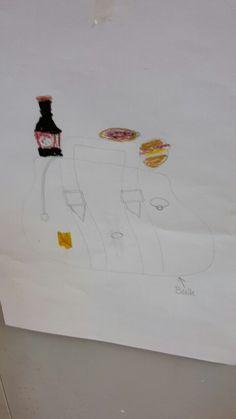 Dit is onze tekening van de les over Jamie Oliver Tedtalk sugar wij hebben een tas gemaakt met allemaal eten eruit waar veel suiker in zit