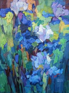 Entwined by Larisa Aukon Oil ~ 16 x 12 3d Painting, Oil Painting Flowers, Contemporary Abstract Art, Small Art, Painting Inspiration, Art Lessons, Flower Art, Artwork, Irises