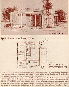 Split Level on One Floor: 1950 Your New Home | Flickr - Photo Sharing! 2 Bed, 1 Bath, Split Level.