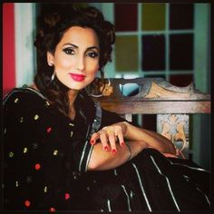 Mrs India Globe Bir Kaur Dhillon in a phulkari and gota suit by Kaur Couture.