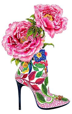 Shoe Addiction - Inspired by pink peonies & Barbara Bui High Heel - Fashion illustration by Sunny Gu. --- for Lavinia Shoe Sketches, Fashion Sketches, Fashion Illustrations, Art Illustrations, Fashion Art, Fashion Shoes, Fashion Beauty, Fashion Design, Paper Fashion